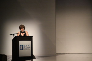 Wendy Manasse, event visionary, at the podium